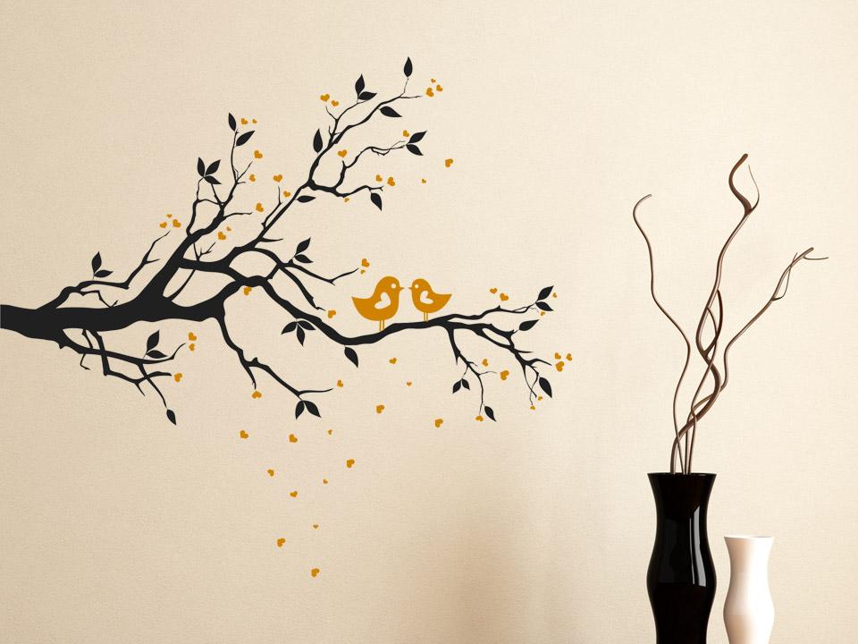 wandtatoo zweig mit v geln und verliebten herzen. Black Bedroom Furniture Sets. Home Design Ideas