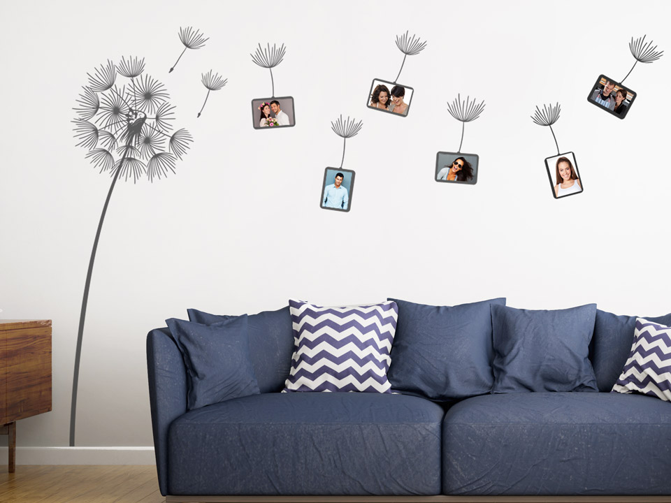 wandtattoo pusteblume als fotorahmen. Black Bedroom Furniture Sets. Home Design Ideas