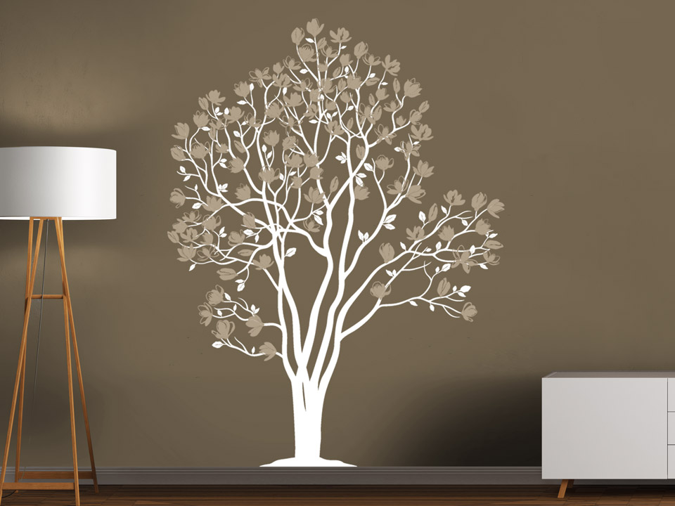 wandtatoo baum magnolienbl ten. Black Bedroom Furniture Sets. Home Design Ideas