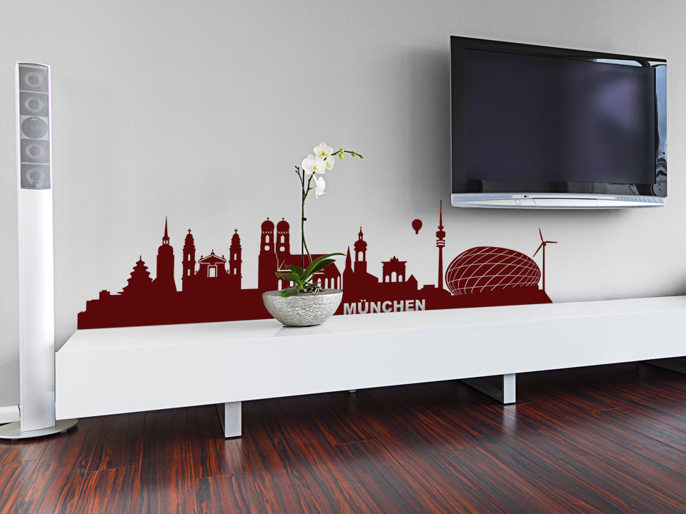 wandtattoo m nchen skyline mit wahrzeichen. Black Bedroom Furniture Sets. Home Design Ideas