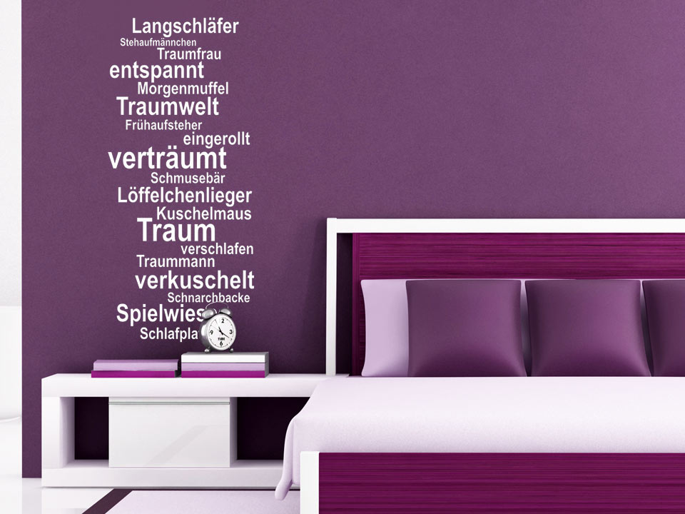 wandtattoo traum worte f rs schlafzimmer. Black Bedroom Furniture Sets. Home Design Ideas
