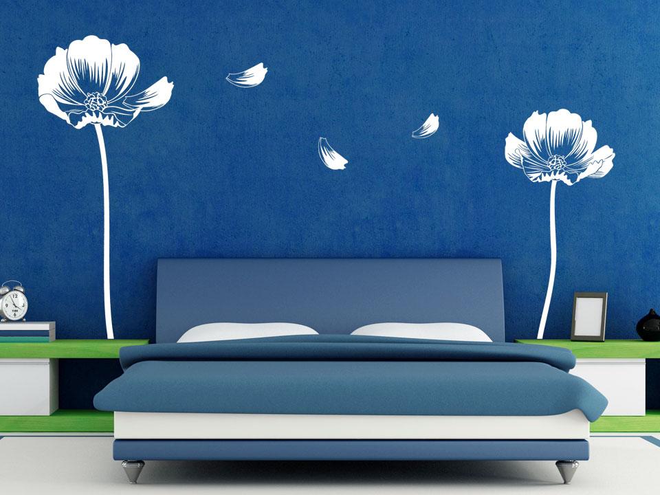 Wandtattoo Filigrane Blüten Mit Blütenblättern | Wandtattoo