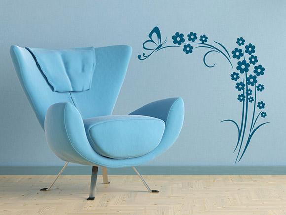 wandtattoo schmetterling auf blumenranke. Black Bedroom Furniture Sets. Home Design Ideas