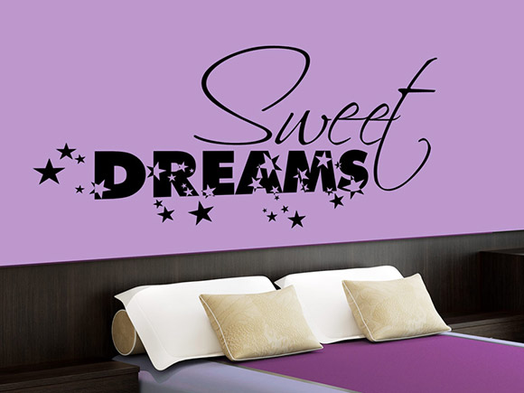 wandtattoo sweet dreams mit sternen f rs schlafzimmer. Black Bedroom Furniture Sets. Home Design Ideas