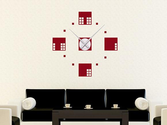 wandtattoo quadrat design wanduhr mit uhrwerk. Black Bedroom Furniture Sets. Home Design Ideas
