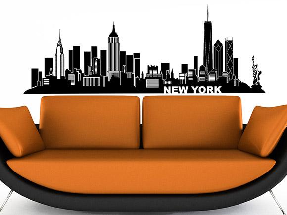 wandtattoo new york silhouette der skyline. Black Bedroom Furniture Sets. Home Design Ideas