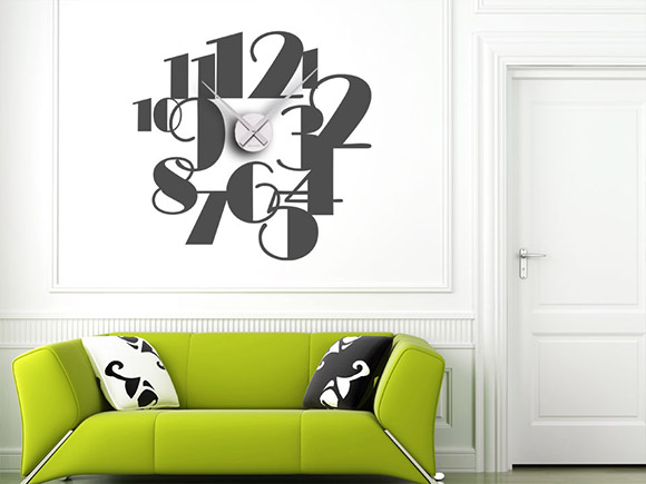 originelle wandtattoo uhr zahlen in gro er schrift. Black Bedroom Furniture Sets. Home Design Ideas