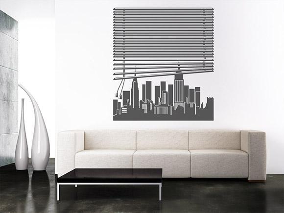 wandtattoo fenster new york. Black Bedroom Furniture Sets. Home Design Ideas