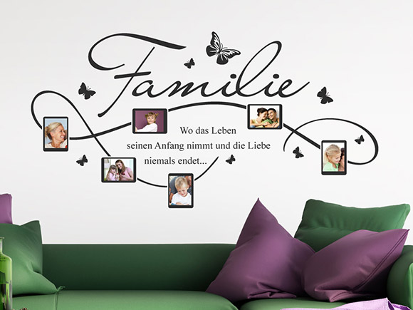 wandtattoo rahmen f r familien fotos mit familienspruch. Black Bedroom Furniture Sets. Home Design Ideas