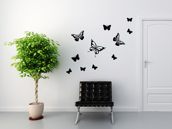 wandtattoo fliegende schmetterlinge. Black Bedroom Furniture Sets. Home Design Ideas