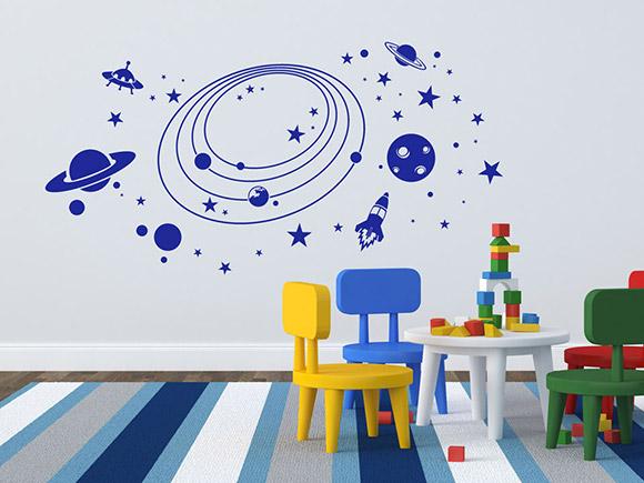 Wandtattoo weltraum planeten f rs kinderzimmer mit rakete for Dekor weltraum