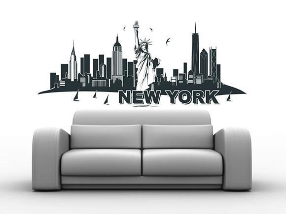 wandtattoo new york skyline mit freiheitsstatue. Black Bedroom Furniture Sets. Home Design Ideas