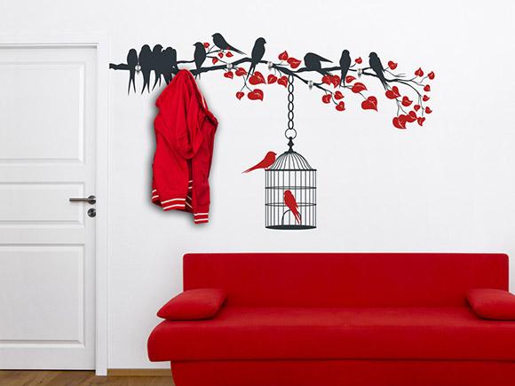 Wandtattoo garderobe bunter ast mit vogelk fig for Garderobe ast