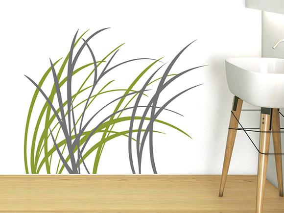 wandtattoo moderne grashalme. Black Bedroom Furniture Sets. Home Design Ideas