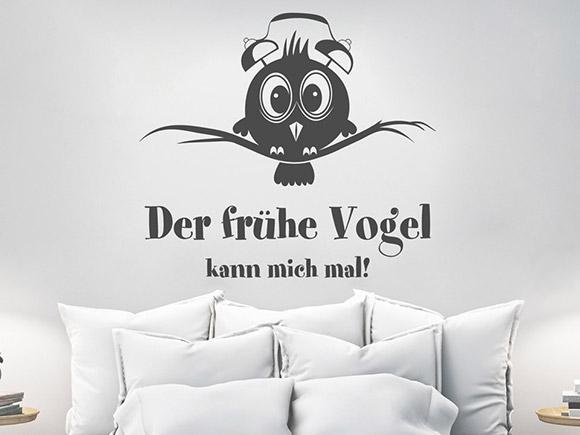 wandtattoo der fr he vogel mit wecker auf dem kopf. Black Bedroom Furniture Sets. Home Design Ideas