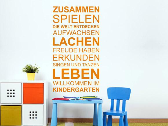 wandtattoo willkommen im kindergarten f r kitas. Black Bedroom Furniture Sets. Home Design Ideas