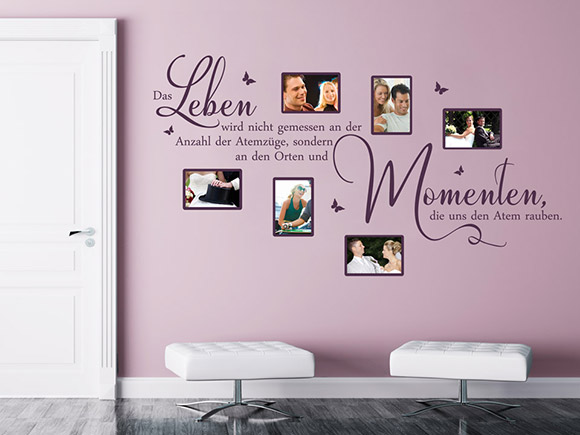 wandtattoo fotorahmen spruch leben atemz ge momente. Black Bedroom Furniture Sets. Home Design Ideas