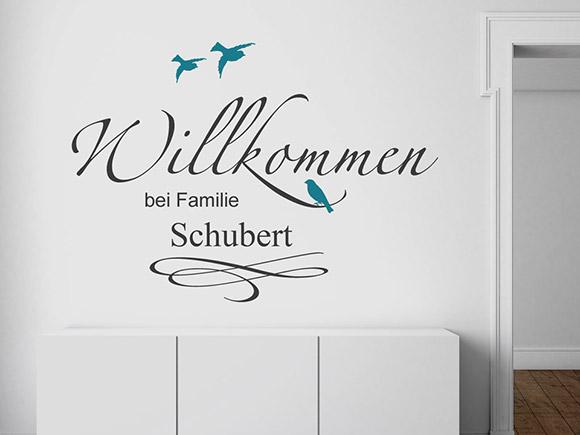 wandtattoo willkommen schriftzug mit familienname. Black Bedroom Furniture Sets. Home Design Ideas