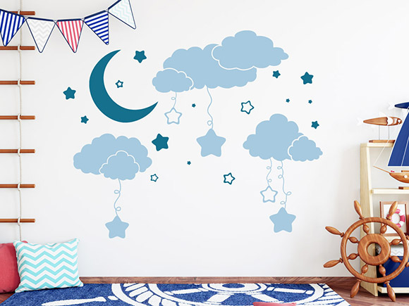 wandtattoo wolken mit mond und sternen. Black Bedroom Furniture Sets. Home Design Ideas