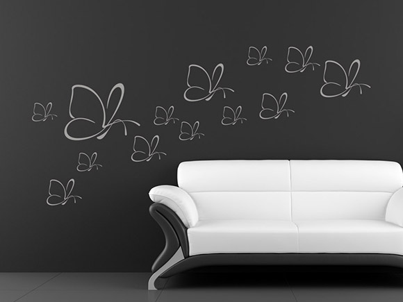 wandtattoo schmetterlingsschwarm mit vielen schmetterlingen. Black Bedroom Furniture Sets. Home Design Ideas