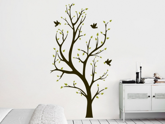 wandtatoo baum mit geschwungenen sten. Black Bedroom Furniture Sets. Home Design Ideas