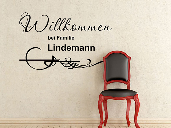 willkommen wandtattoo mit wunschname familienname. Black Bedroom Furniture Sets. Home Design Ideas