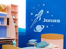 wandtattoo weltraum planeten f rs kinderzimmer mit rakete ufo und stern. Black Bedroom Furniture Sets. Home Design Ideas